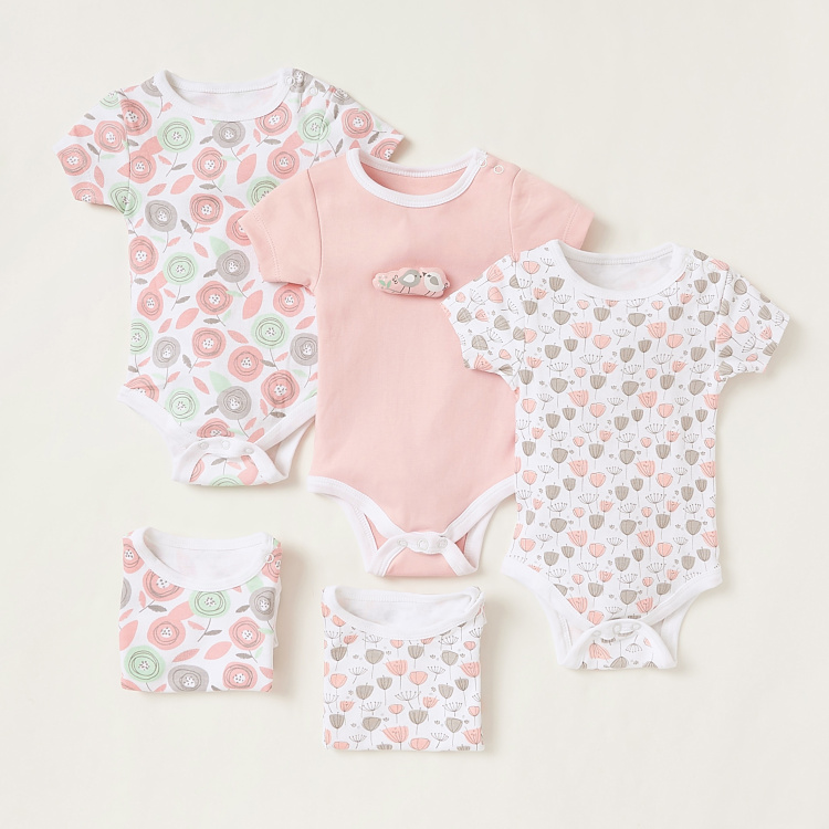 Juniors Printed Bodysuit with Short Sleeves - Set of 5