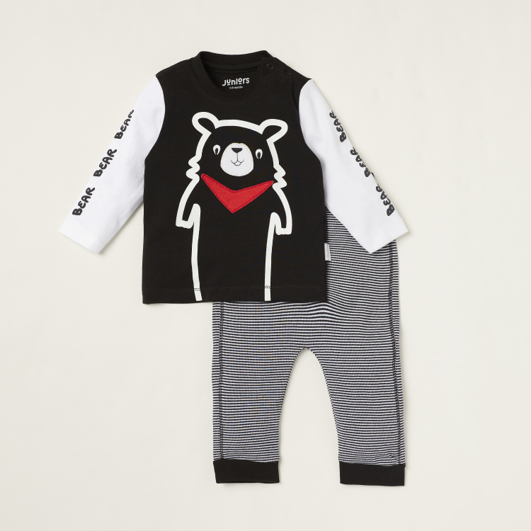 Juniors Bear Print T-shirt with Long Sleeves and Striped Jog Pants Set