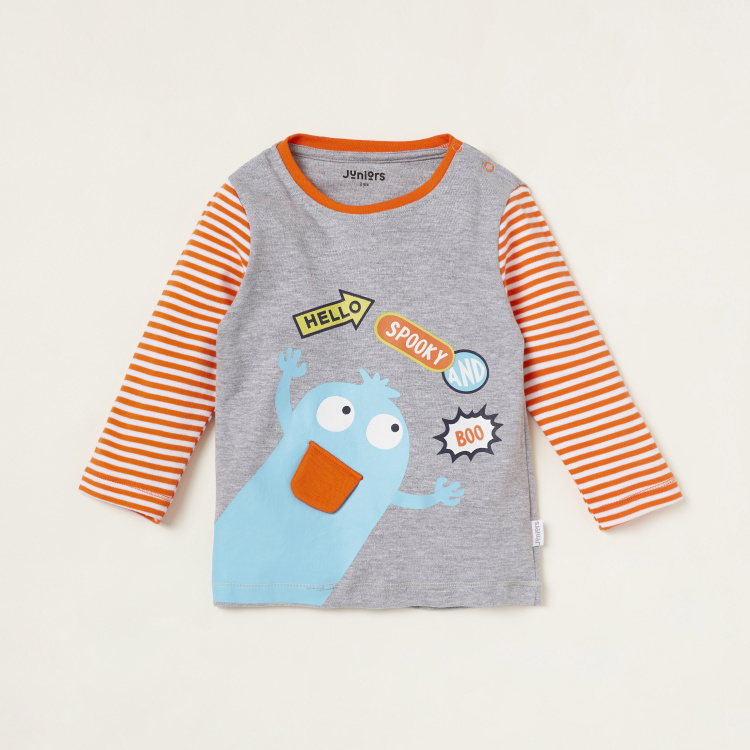 Juniors Printed Long Sleeves T-shirt and Full Length Pyjama Set