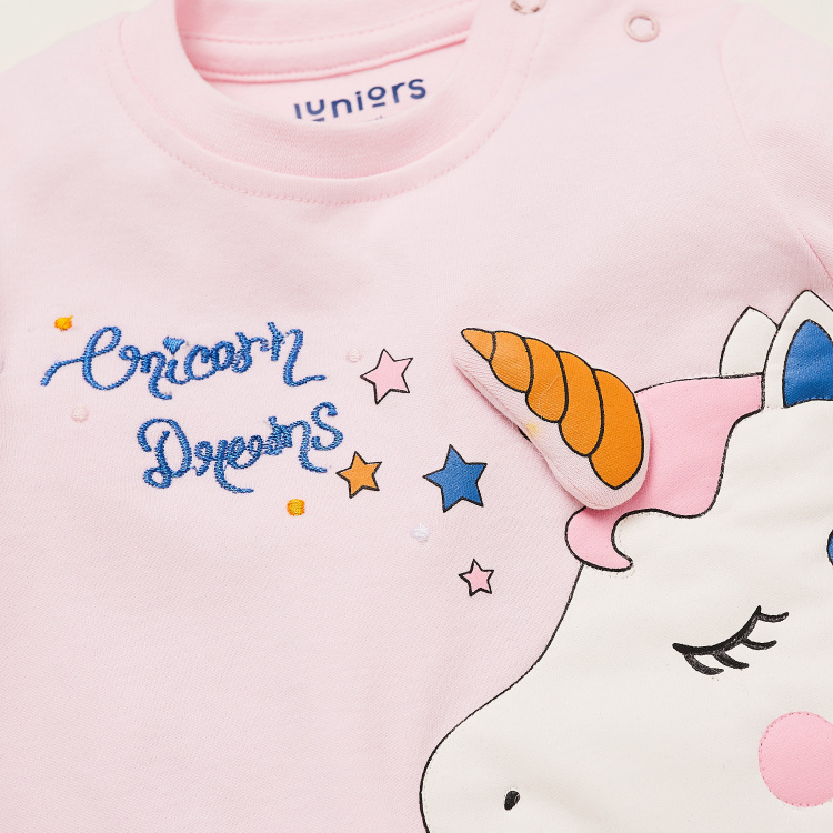 Juniors Unicorn Print T-shirt and Full Length Pyjama Set