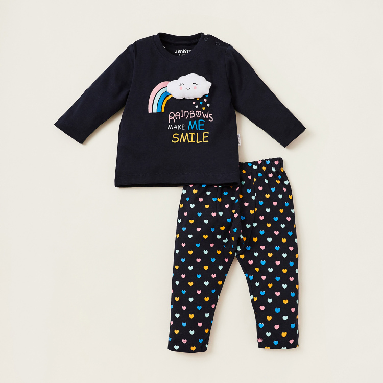 Juniors Cloud Applique Print T-shirt and Full Length Pyjama Set