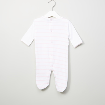 Juniors Striped and Embroidered Long Sleeves Closefeet Sleepsuit