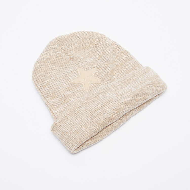 Juniors Textured Beanie Cap with Embroidery