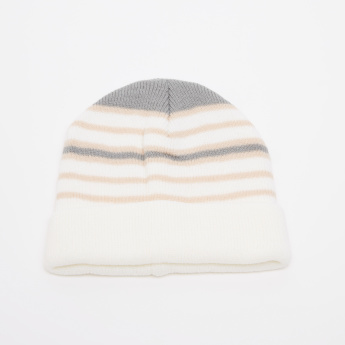 Juniors Striped Textured Beanie Cap