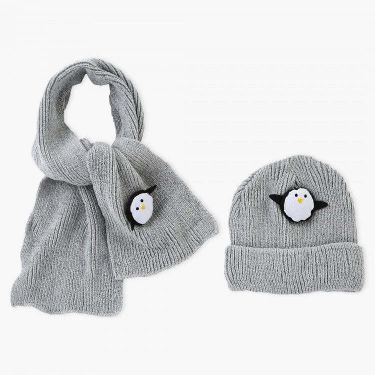 Juniors Embellished Scarf and Beanie Cap