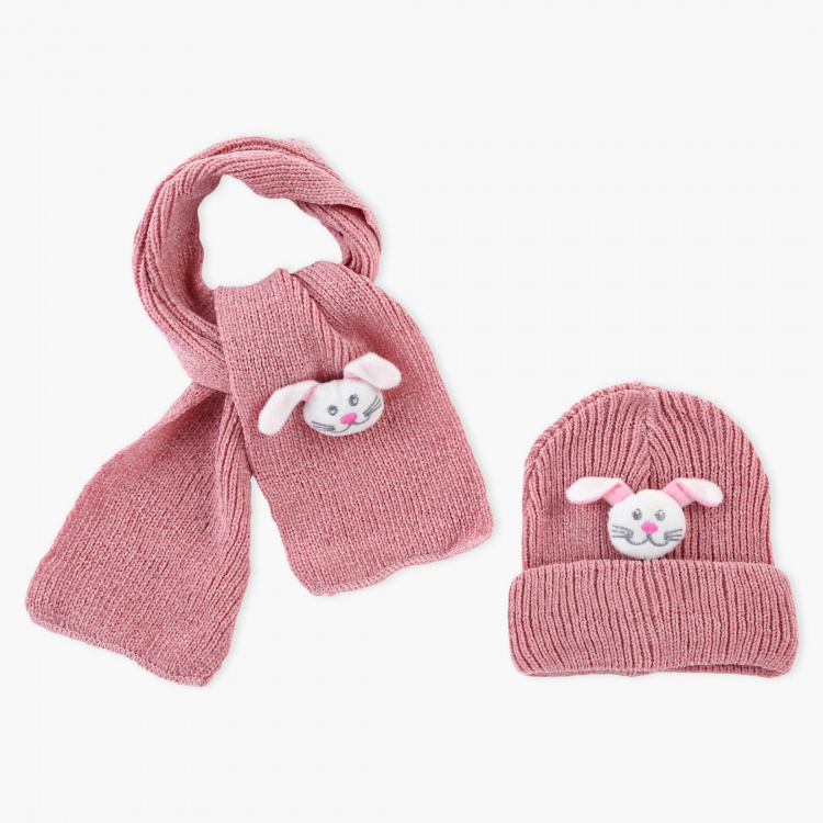 Juniors Embellished Beanie Cap and Scarf