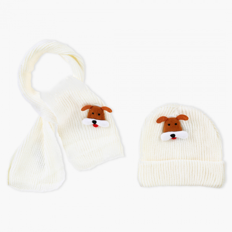 Juniors Woven Beanie Cap and Scarf Set