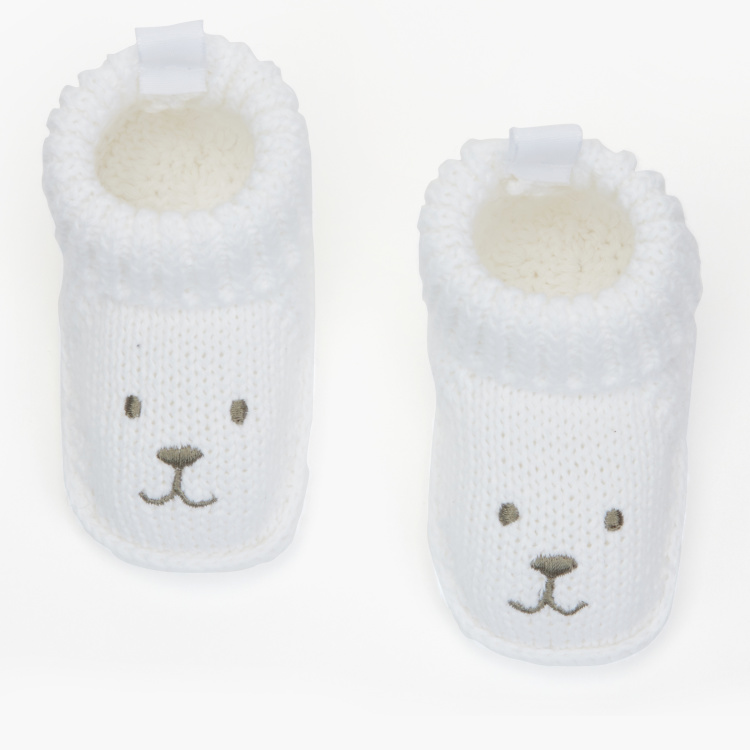 Juniors Bear Face Embroidered Booties