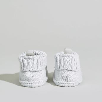 Juniors Knitted Booties with Applique Detail