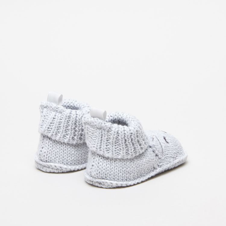Juniors Knitted Baby Booties with Cat Detail