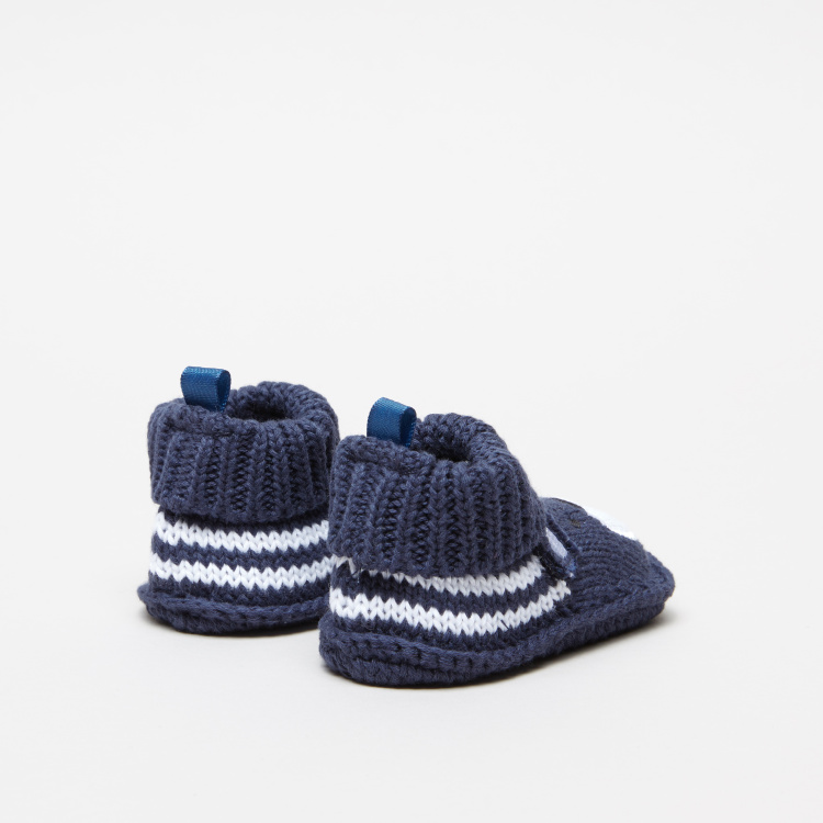 Juniors Knitted Baby Booties with Bear Detail