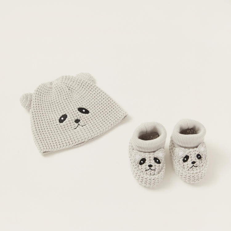 Juniors Textured Beanie Cap and Booties Set