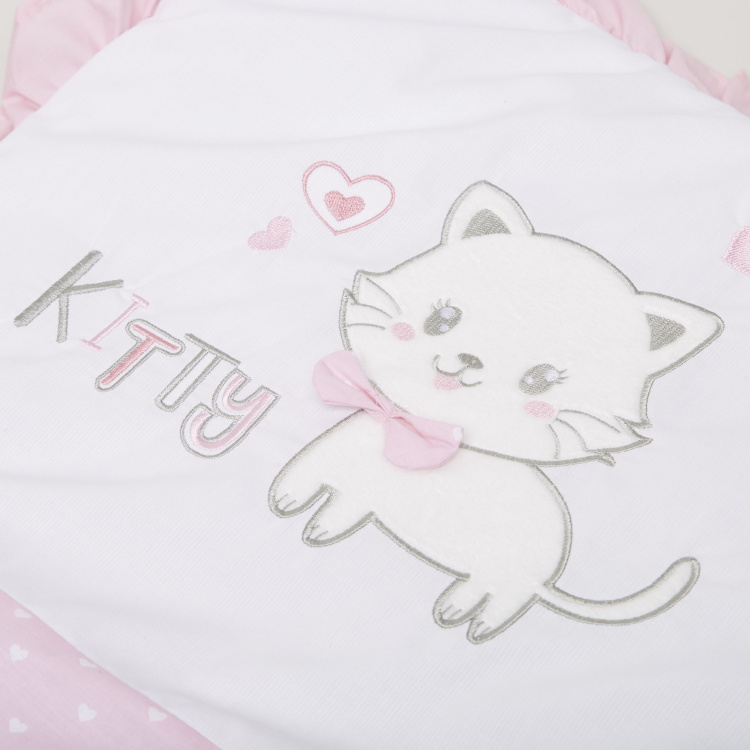 Juniors Kitty Embroidered Cradle Quilt Nest Bag