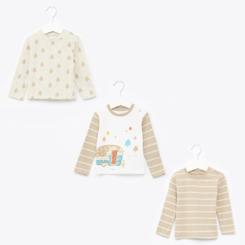Juniors Printed Long Sleeves T-Shirt - Set of 3