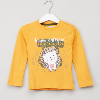 Juniors Printed Round Neck Long Sleeves T-Shirt - Set of 3