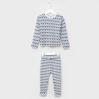 Juniors Printed Textured Long Sleeves Sweat Top and Pants Set