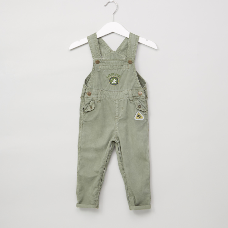 Juniors Embroidered Pocket Detail Dungarees