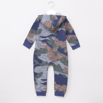 Juniors Camouflage Textured Long Sleeves Romper