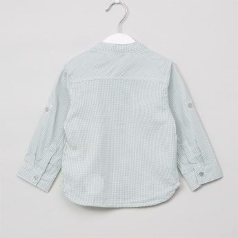 Giggles Chequered Mandarin Collar Long Sleeves Shirt