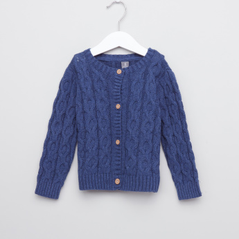 Giggles Textured Long Sleeves Cardigan