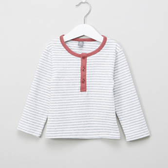 Giggles Striped Long Sleeves T-Shirt with Dugarees