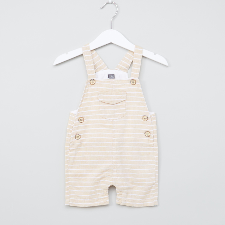 Giggles Striped Dungarees with Button Closure