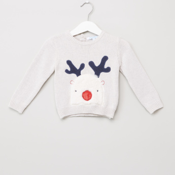 Juniors Embroidered Applique Detail Long Sleeves Pullover