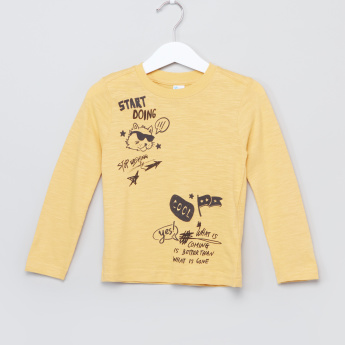 Juniors Printed Long Sleeves T-Shirt - Set of 2