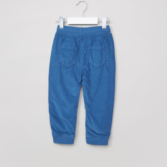 Juniors Textured Full Length Jog Pants with Elasticised Waistband