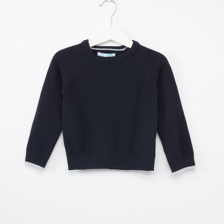 Juniors Textured Crew Neck Raglan Sleeves Sweater