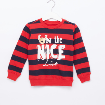 Juniors Striped Long Sleeves Sweatshirt