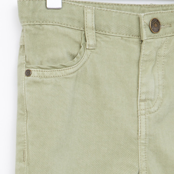 Juniors Full Length Pants with Button Closure and Pocket Detail