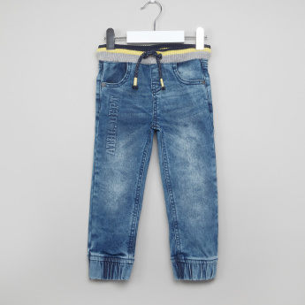 Juniors Printed Denim Jog Pants