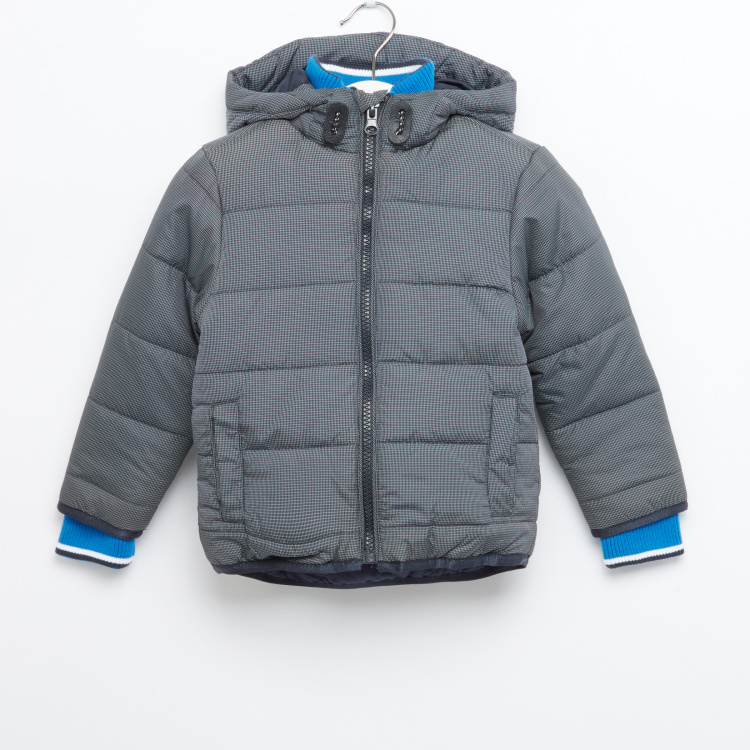 Juniors Chequered Hooded Jacket