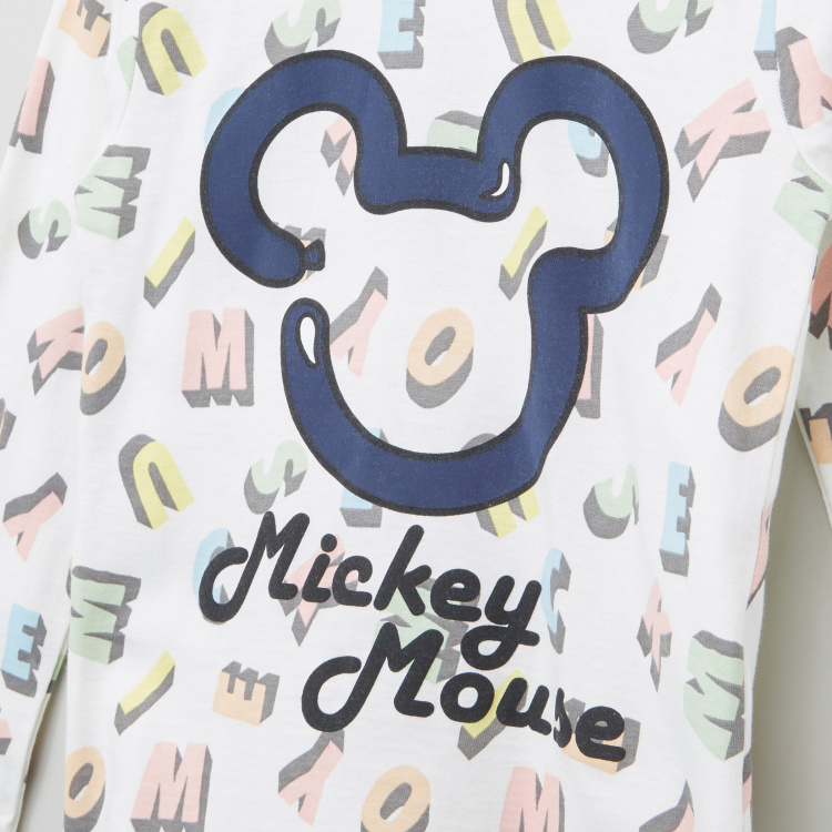 Mickey Mouse Graphic Printed Round Neck Long Sleeves T-Shirt