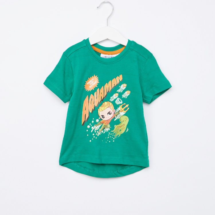 Aquaman Printed Round Neck T-Shirt with Short Sleeves