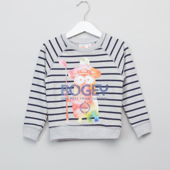 Minions Printed and Striped Round Neck Raglan Sleeves Sweatshirt