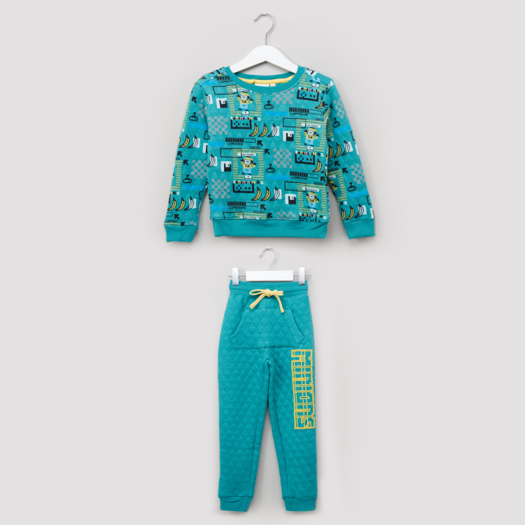 Minions Printed Long Sleeves Sweat Top and Jog Pants