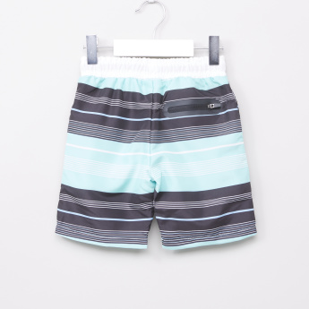 Juniors Striped Board Shorts with Elasticised Waistband