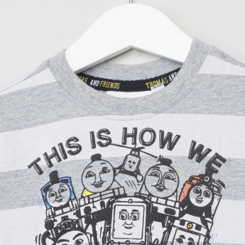 Thomas & Friends Printed and Striped T-shirt with Long Sleeves
