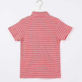 Juniors Striped Polo T-Shirt with Short Sleeves