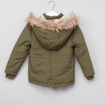 Juniors Parka Hooded Jacket with Pocket Detail and Zip Closure
