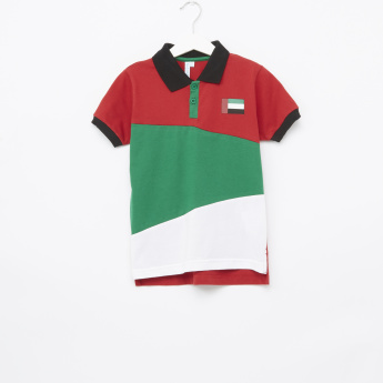 Juniors Cut and Sew Panel Polo T-Shirt
