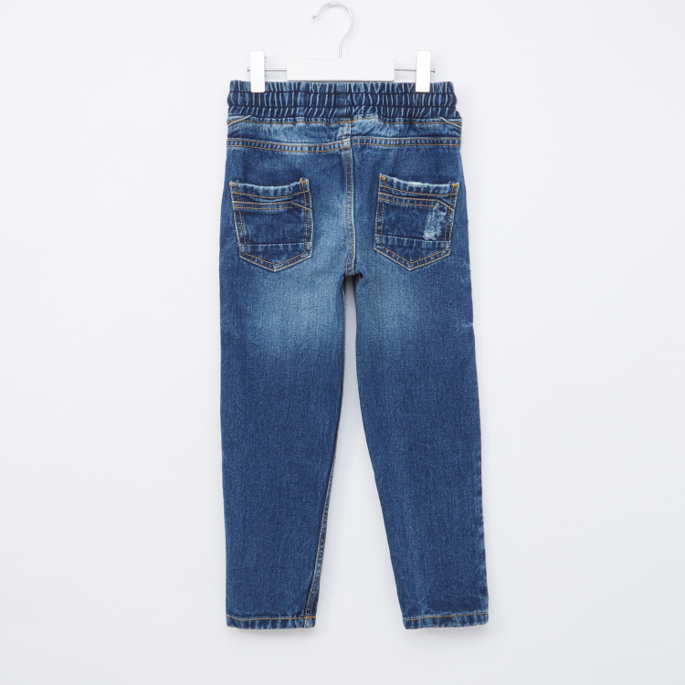 Juniors Full Length Denim Pants with Drawstring and Pocket Detail