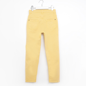 Juniors Pants with Woven Details