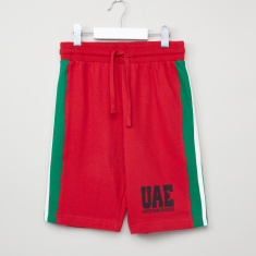 Juniors Cord Shorts with UAE Side Printed Panel