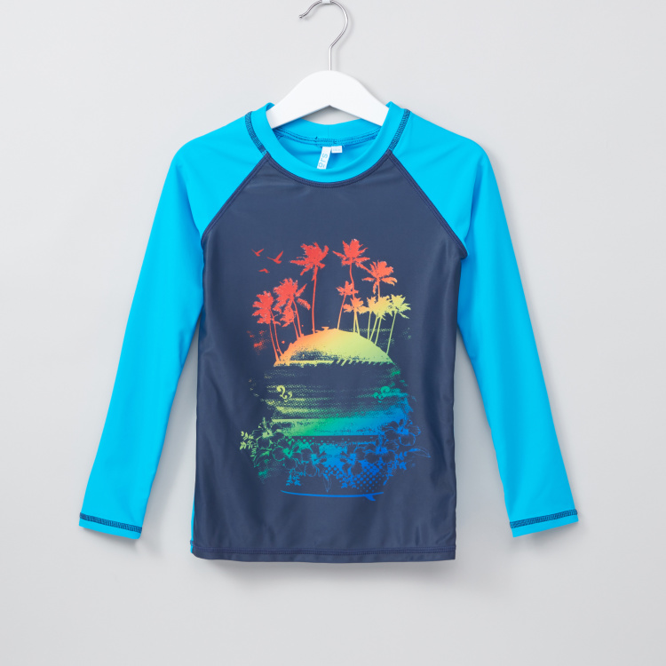 Juniors Printed Long Sleeves Swim T-Shirt