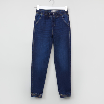 Posh Denim Jog Pants with Drawstring and Pocket Detail