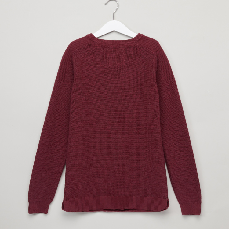 Posh Textured Round Neck Long Sleeves Sweatshirt