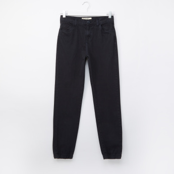 Posh Full Length Jog Pants with Button Closure and Pocket Detail